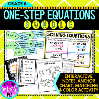 Solving One-Step Equations Notes, Poster, Matching, and Coloring BUNLDE!