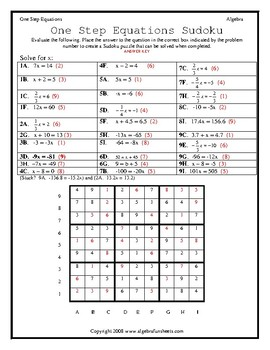 Solving One-Step Equations by All Operations Sudoku