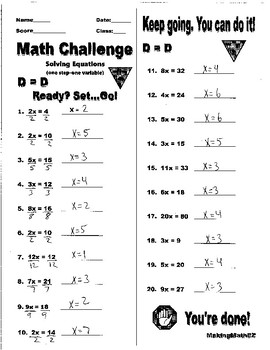 Solving One Step Equations ( One variable) Bell Ring/Exit Ticket
