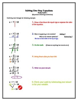8.EE.C.7 Solving One-Step Equations Packet