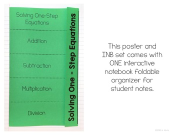 Solving One Step Equations Posters and Interactive Notebook INB Set