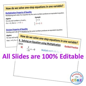 SOLVING ONE-STEP EQUATIONS PowerPoint Mini-Lesson & Guided Practice