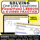 SOLVING ONE-STEP EQUATIONS PowerPoint Lesson and Practice