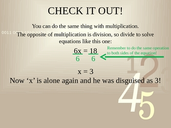Solving One-Step Equations Powerpoint