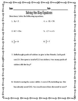 Solving One Step Equations Practice Worksheet