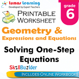 Solving One-Step Equations Printable Worksheet, Grade 6