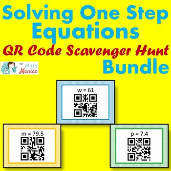 Solving One Step Equations QR Code Scavenger Hunt BUNDLE