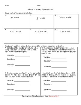 Solving One-Step Equations Quiz
