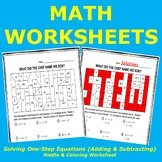 Solving One-Step Equations Riddle & Coloring Worksheet (Adding & Subtracting)