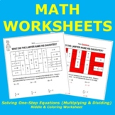 Solving One-Step Equations Riddle & Coloring Worksheet (Mu