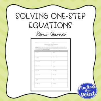 Solving One-Step Equations Row Game