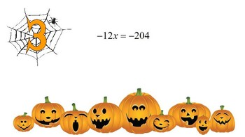 Solving One-Step Equations Set C (Integers) Halloween Themed