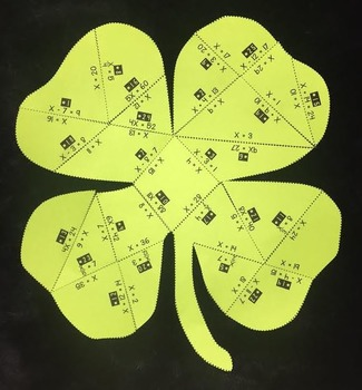 Solving One- Step Equations (Shamrock Shaped Puzzle/ St. P