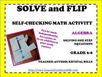 Solving One Step Equations: Solve and Flip Freebie (Math grade 6-8)