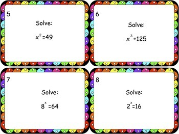 Solving One Step Equations Task Cards