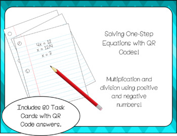 Solving One-Step Equations Task Cards with QR Codes Multip