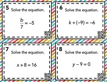 One Step Equations Task Cards
