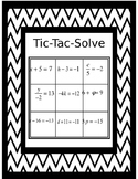 Solving One Step Equations Tic-Tac-Solve