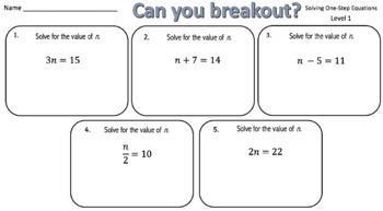 Solving One-Step Equations – Two Breakout Activities!