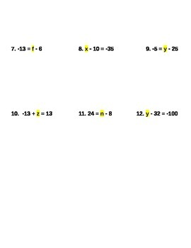 Solving One Step Equations Using Addition Notes and Assignment