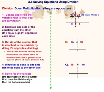 Solving One Step Equations Using Division Notes on Smartboard