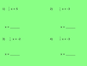 Solving One Step Equations Using Multiplication Smartboard Xtra Practice