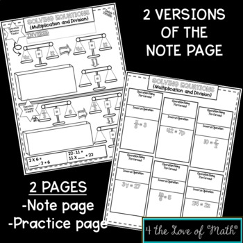 Solving One Step Equations Using Multiplication and Division No Prep Note Pages