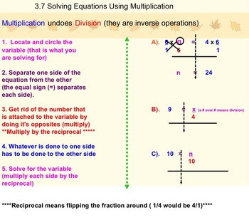 Solving One Step Equations Using Multiplication on Smartbo