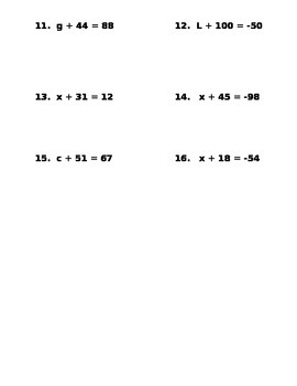 Solving One Step Equations Using Subtraction-notes and assignments