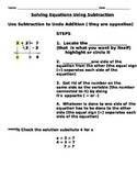 Solving One Step Equations Using Subtraction-notes and ass