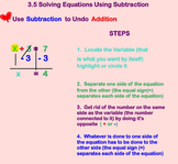 Solving One Step Equations Using Subtraction on smart board Notes and assignment