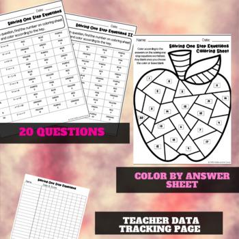 Solving One Step Equations Worksheets (Solve & Color)