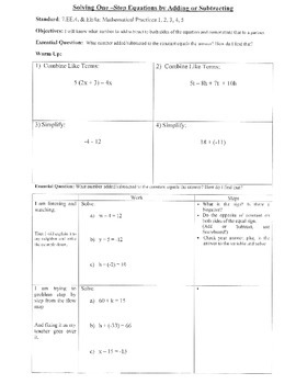 Solving One-Step Equations by Adding/Subtracting (7.EE.4; Math Pract. 1,2,3,4,5)