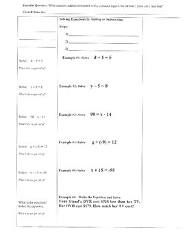 Solving One-Step Equations by Adding/Subtracting- Cornell Notes (7.EE.4;)
