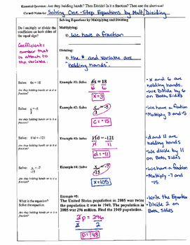 Solving One-Step Equations by Mult./Dividing - Cornell Notes (7.EE.4)