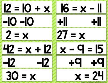 Solving One-Step Equations using Addition and Subtraction Matching Puzzles