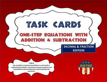 Task Cards BASIC - Solving 1-Step Equations w/Addition & Subtraction (Dec/Frac)