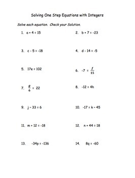 Solving One Step Equations with Integers