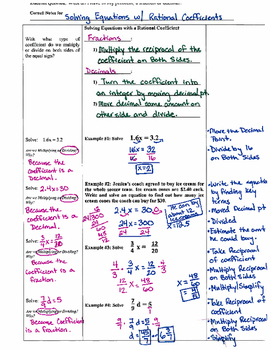 Solving One-Step Equations with Rational Coefficients - Cornell Notes (7.EE.4)