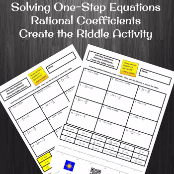 Solving One-Step Equations with Rational Coefficients Create a Riddle Activity