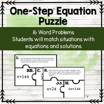 Solving One Step Equations with Word Problems Puzzle