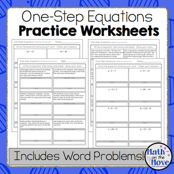One-Step Equations worksheets (including word problems) by Math on ...