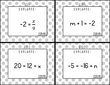 Solving One-Step Expressions 7th Grade Math Task Cards