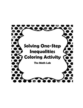 Solving One-Step Inequalities Activity - Algebra