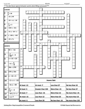 Solving One Step Inequalities Crossword Puzzle