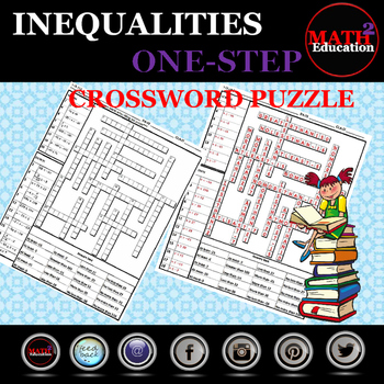 Solving One Step Inequalities Crossword Puzzle By Math Square Tpt