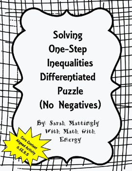 Solving One Step Inequalities Differentiated Puzzle (No Negatives)