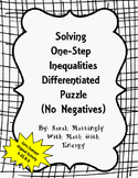 Solving One Step Inequalities Differentiated Puzzle (No Ne