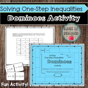 Solving One-Step Inequalities Dominoes Activity