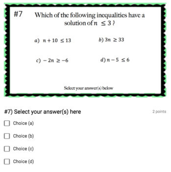 Solving One-Step Inequalities (Google Form & Interactive Video Lesson!)